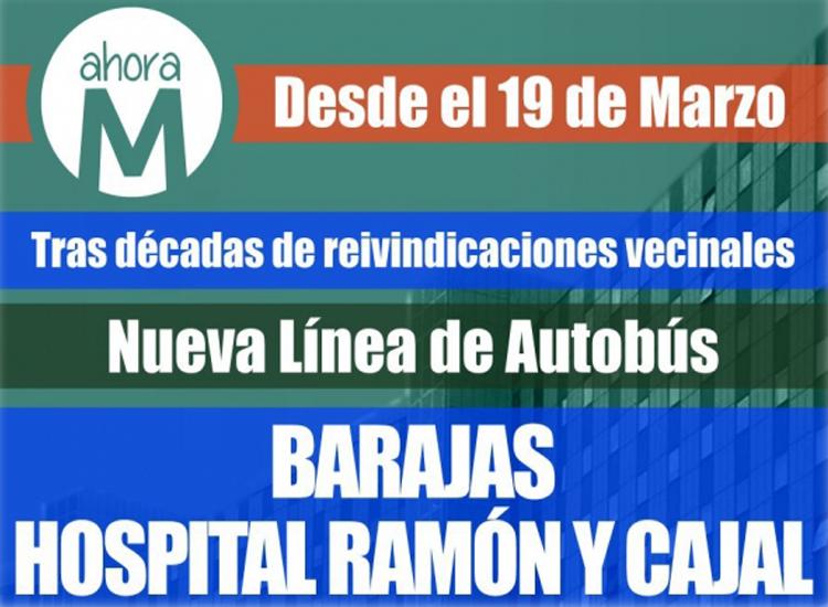 Por fin se inaugura el servicio del autobús que conectará Barajas con el Hospital Ramón y Cajal