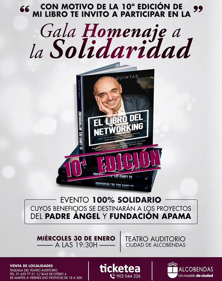 """Gala homenaje a la Solidaridad por la décima edición de """"El libro del networking"""" de Cipri Quintas"""