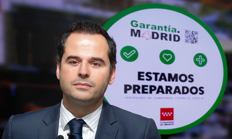 """El Vicepresidente Aguado presenta el sello """"Garantía.Madrid"""" para fomentar las buenas prácticas de las empresas de la región frente al coronavirus"""