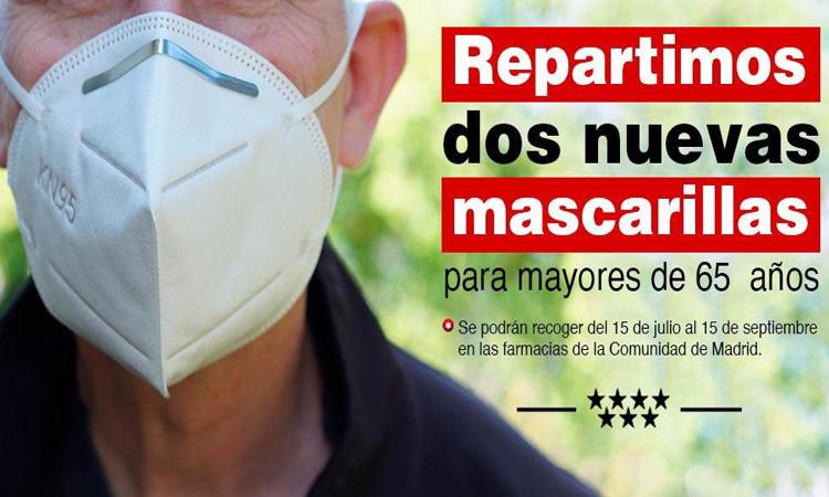 La Comunidad de Madrid entrega la tercera y cuarta mascarilla de manera gratuita a los mayores de 65 años