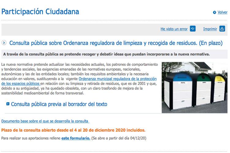 Consulta ciudadana para elaborar la nueva Ordenanza Municipal de Recogida de Residuos y Limpieza Viaria