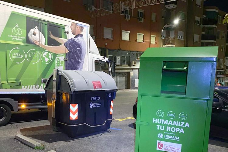 Los vecinos de Sanse depositan 643.000 prendas de ropa en los contenedores de la Fundación Humana durante el primer semestre del año