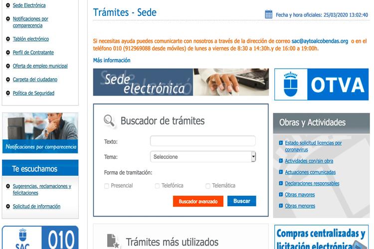 La Web Municipal del Ayuntamiento de Alcobendas, 24 horas al servicio de todos