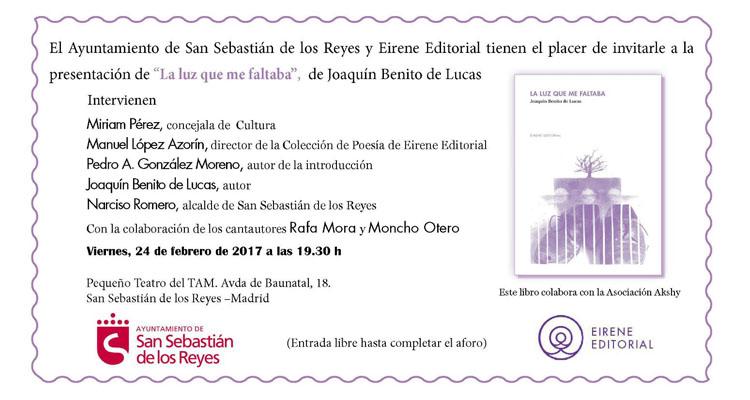 El Ayuntamiento de San Sebastián de los Reyes y Eirene Editorial presentarán el viernes, 24 de febrero